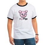 I Love Pink Heart Pigs Cute Ringer T