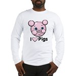 I Love Pink Heart Pigs Cute Long Sleeve T-Shirt