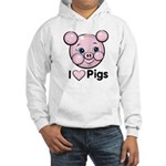 I Love Pink Heart Pigs Cute Hooded Sweatshirt