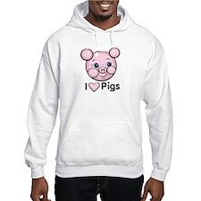 I Love Pink Heart Pigs Cute Hoodie
