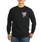 I Love Pink Heart Pigs Cute Long Sleeve Dark T-Shi