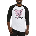 I Love Pink Heart Pigs Cute Baseball Jersey