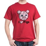 I Love Pink Heart Pigs Cute Dark T-Shirt