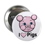 I Love Pink Heart Pigs Cute Button