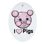 I Love Pink Heart Pigs Cute Oval Ornament