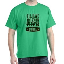 Blood Type Coffee T-Shirt