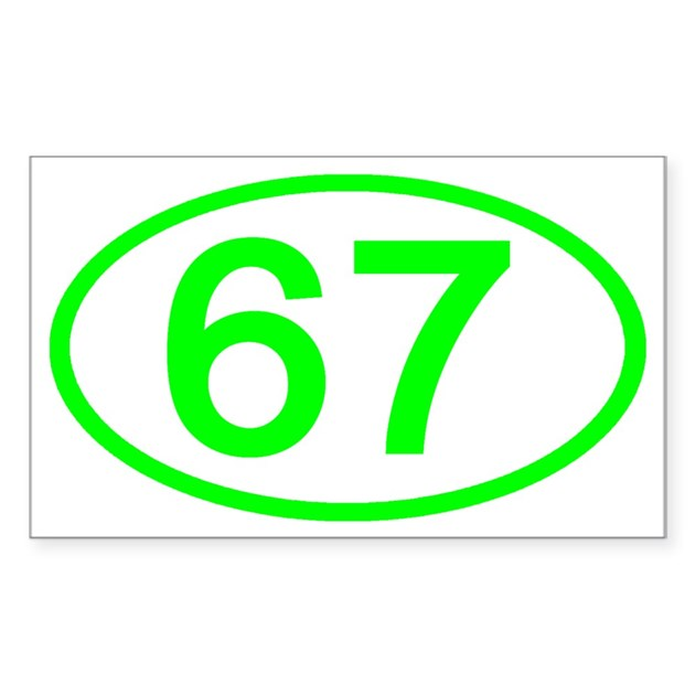 Number 67 Oval Rectangle Decal By Ovalsboutique