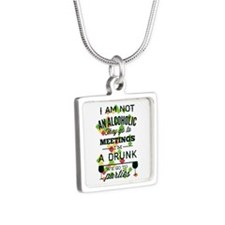 Drunks Go To Parties Silver Square Necklace