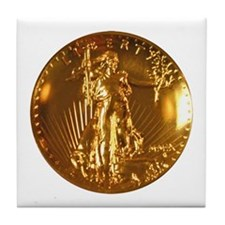 Ultra High Relief $20 Gold Coin Tile Coaster
