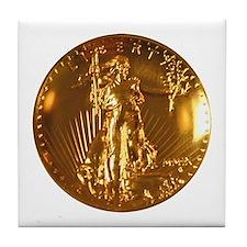 Ultra High Relief $20 Gold Coin Tile Coaster