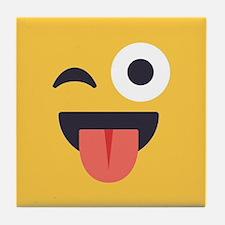 Winky Tongue Emoji Face Tile Coaster