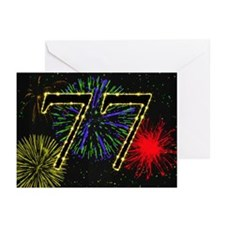 77th birthday with fireworks Greeting Cards 20 PK