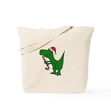 T-rex Dinosaur in Santa Hat Tote Bag