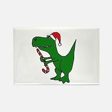 T-rex Dinosaur in Santa Hat Rectangle Magnet