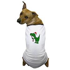 T-rex Dinosaur in Santa Hat Dog T-Shirt