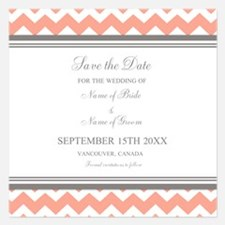 Coral Grey Chevron Invitations
