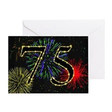 75th birthday with fireworks Greeting Card