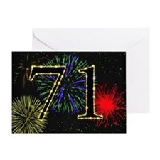 71st birthday with fireworks Greeting Card