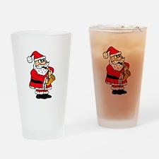 Santa Claus Playing Saxophone Drinking Glass