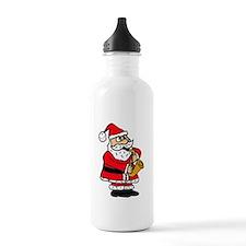 Santa Claus Playing Saxophone Water Bottle