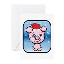 Santa Pig Snow Cartoon Christmas Greeting Cards (P