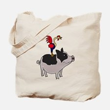 Rooster Sitting on Pig Tote Bag
