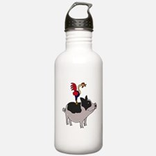 Rooster Sitting on Pig Water Bottle