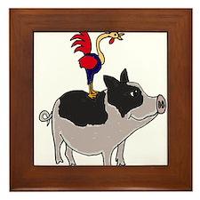 Rooster Sitting on Pig Framed Tile