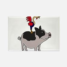 Rooster Sitting on Pig Rectangle Magnet
