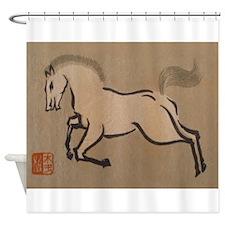 Horse, Japanese, Vintage Art Shower Curtain