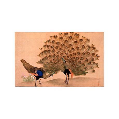 Peacocks, Japanese, Vintage Art 3'x5' Area Rug