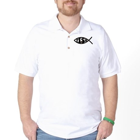 Jesus Fish Spoof Golf Shirt