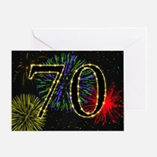 70th birthday with fireworks Greeting Card
