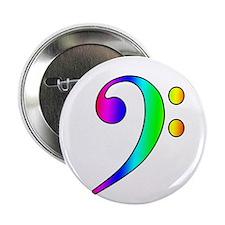 "Bass Clef Rainbow Gradient Outline 2.25"" Button (1"