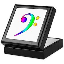 Bass Clef Rainbow Gradient Outline Keepsake Box