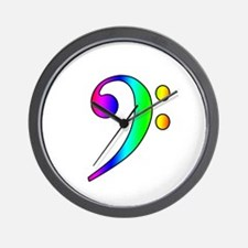 Bass Clef Rainbow Gradient Outline Wall Clock