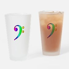 Bass Clef Rainbow Gradient Outline Drinking Glass