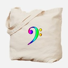 Bass Clef Rainbow Gradient Outline Tote Bag