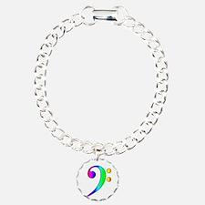 Bass Clef Rainbow Gradient Outline Bracelet