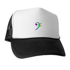 Bass Clef Rainbow Gradient Outline Trucker Hat