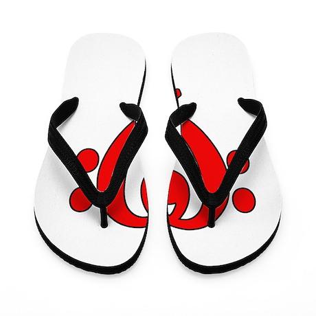 bass clef heart red Flip Flops