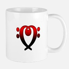 Bass clef heart red to black Mug