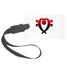 Bass clef heart red to black Luggage Tag