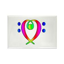 Bass Clef Heart Rainbow Gradient Rectangle Magnet