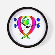 Bass Clef Heart Rainbow Gradient Wall Clock