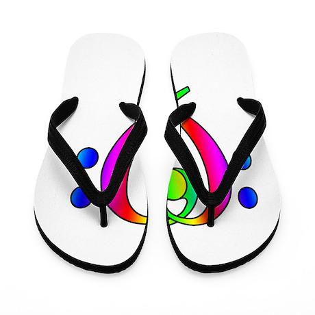 Bass Clef Heart Rainbow Gradient Flip Flops