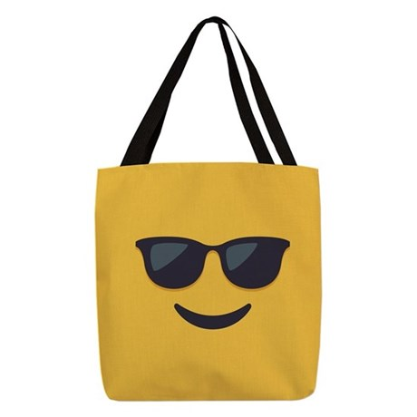 Sunglasses Emoji Face Polyester Tote Bag