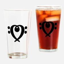 Bass clef heart black Drinking Glass