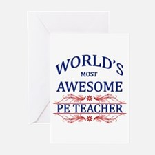 World's Most Awesome PE Teacher Greeting Cards (Pk