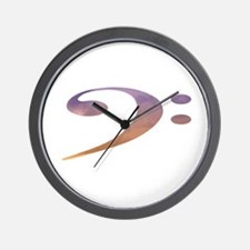 bass clef clouds purple orange Wall Clock